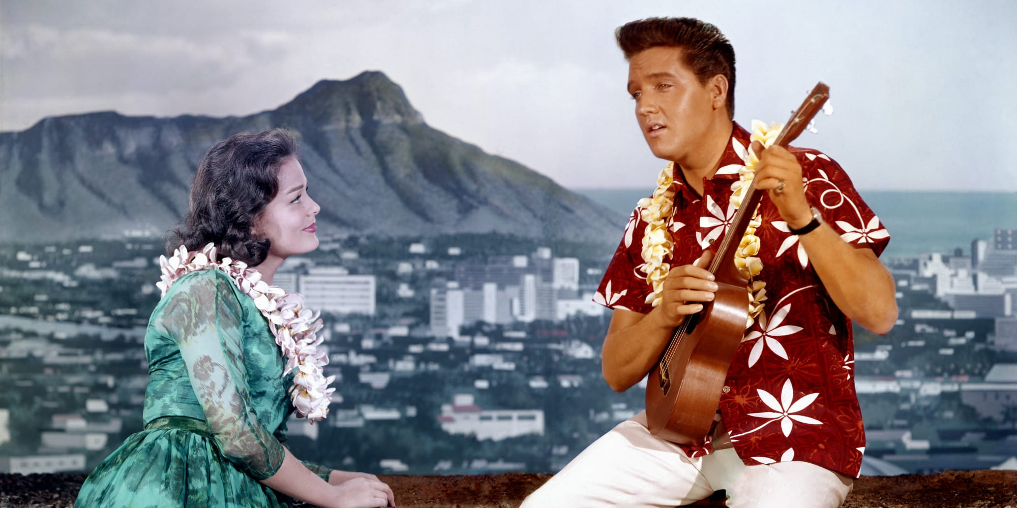 Elvis Presley in a Hawaiian shirt