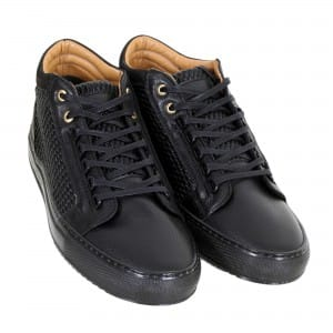 Black Leather Trainers by Android Homme