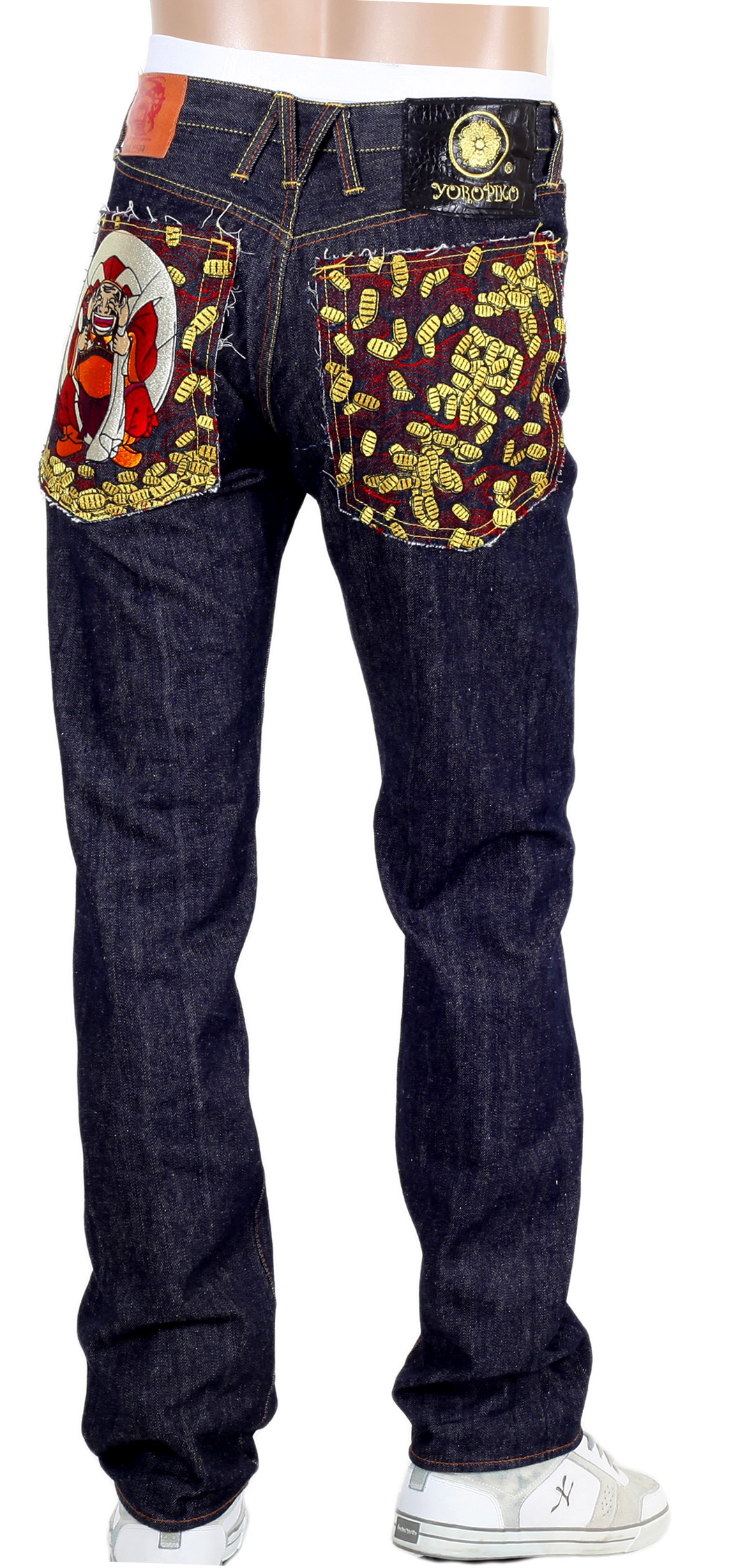 Lucky Buddha and Gold Nugget Kanji Jeans