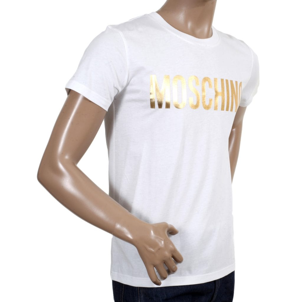 White Crew Neck T-Shirt with Gold Logo from Moschino