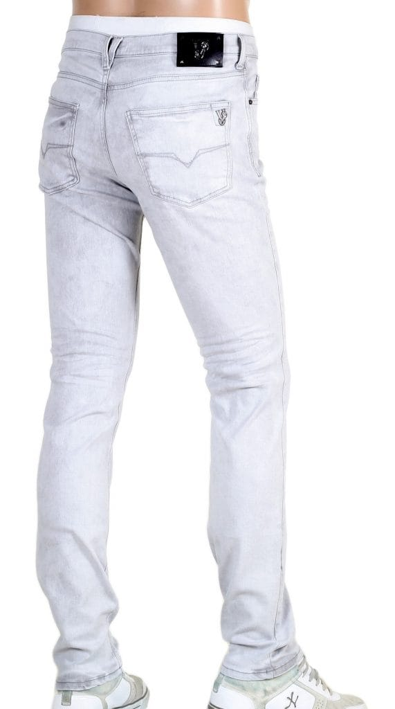 Versace Low Rise Slim Fit Jeans in Washed Grey