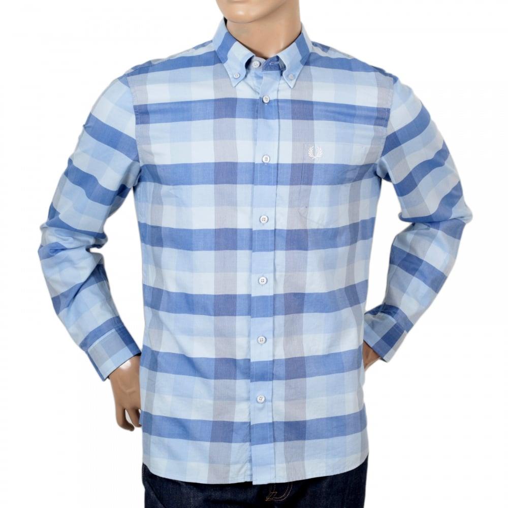 Light Blue Textured Gingham Check Shirt