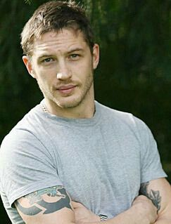 Tom Hardy in a grey t-shirt