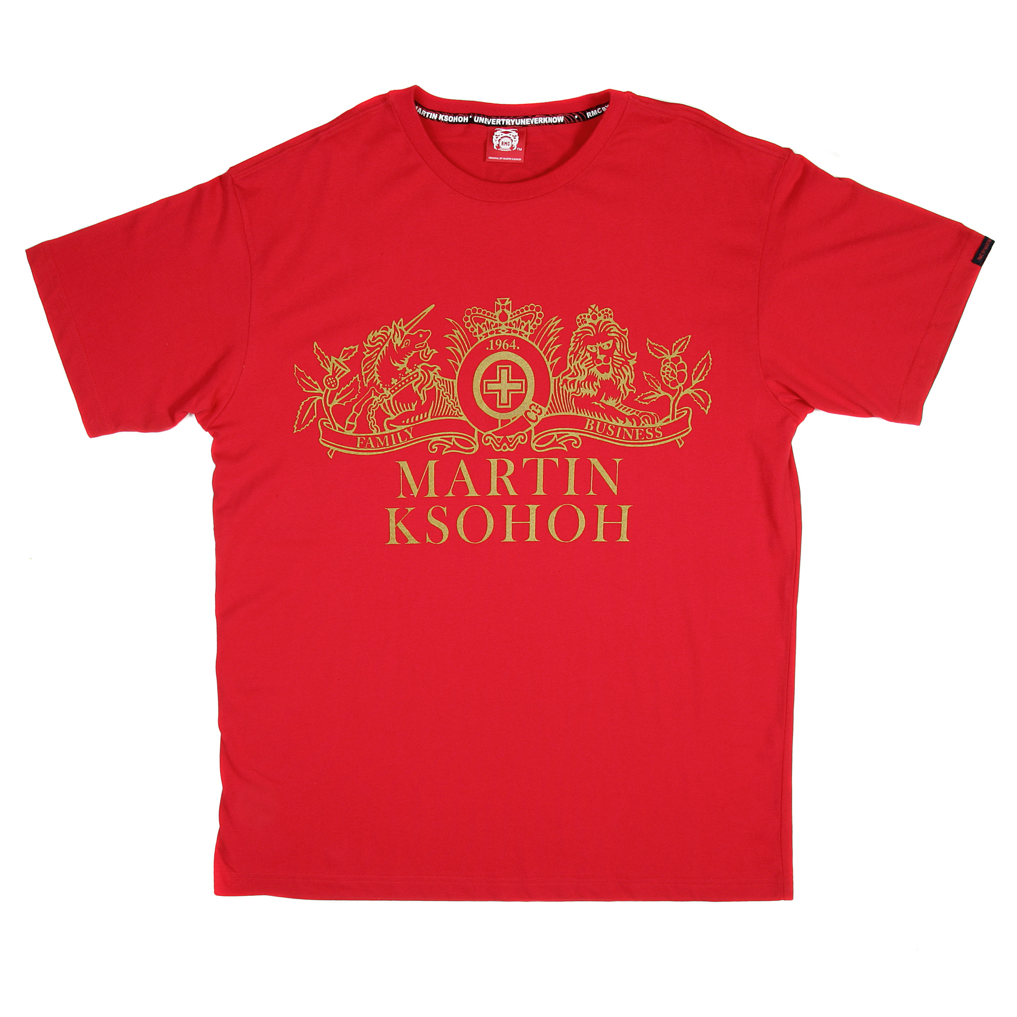 red T-shirt with golden print