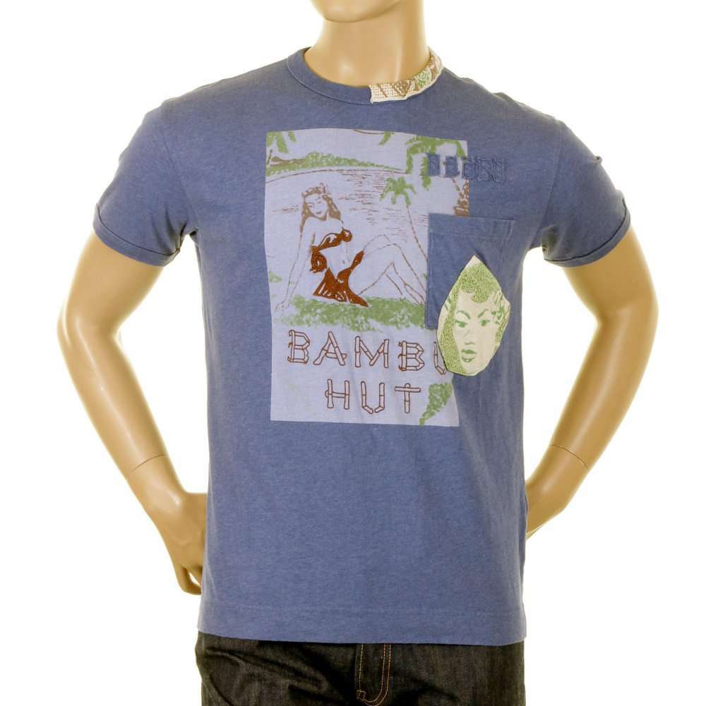 mens blue T-shirt