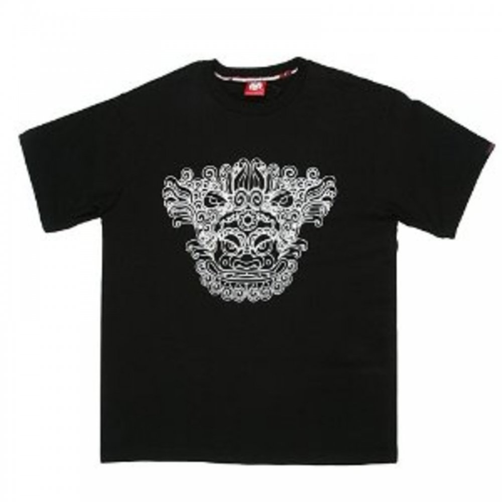Oriental Lion Printed Black T-shirt for Men