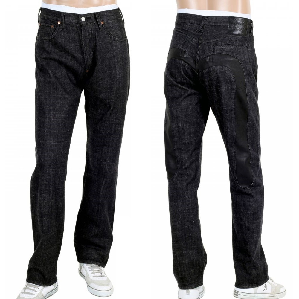 Evisu black jeans for men