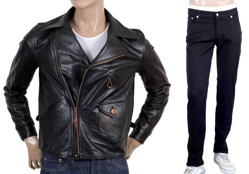 black denim jeans with leather jacket