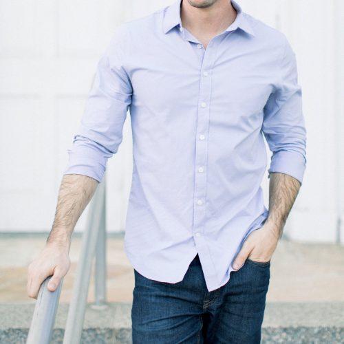 men's light blue shirt