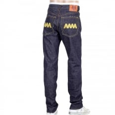 4A Version 1 Indigo Raw Japanese Selvedge Denim Jeans with Gold Embroidery