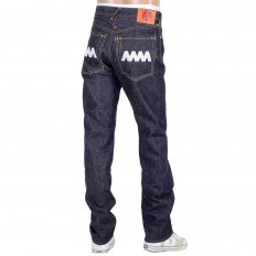 4A Version 1 White Embroidered Indigo Japanese Selvedge Denim Jeans with White Embroidery