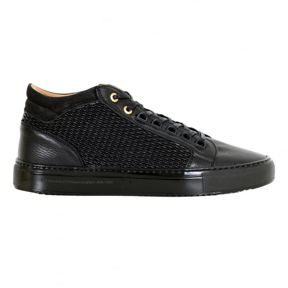 a85f7e37830 ANDROID HOMME Black Leather Propulsion Mid Top Trainers with Two Pairs of  Gold Branded Lace Eyelets
