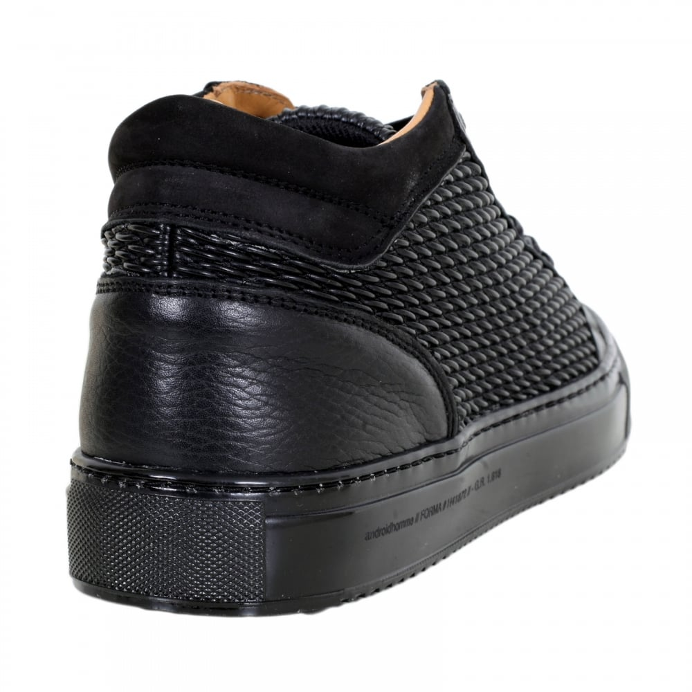 003f7eb7ab4 ... ANDROID HOMME Black Leather Propulsion Mid Top Trainers with Two Pairs  of Gold Branded Lace Eyelets ...