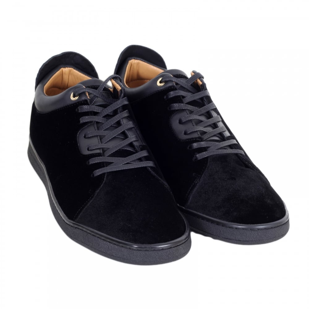 f5257c82f6f ANDROID HOMME Black Velvet Getty Low Top Trainers with Python Embossed Back  Heel Panel and Gold ...