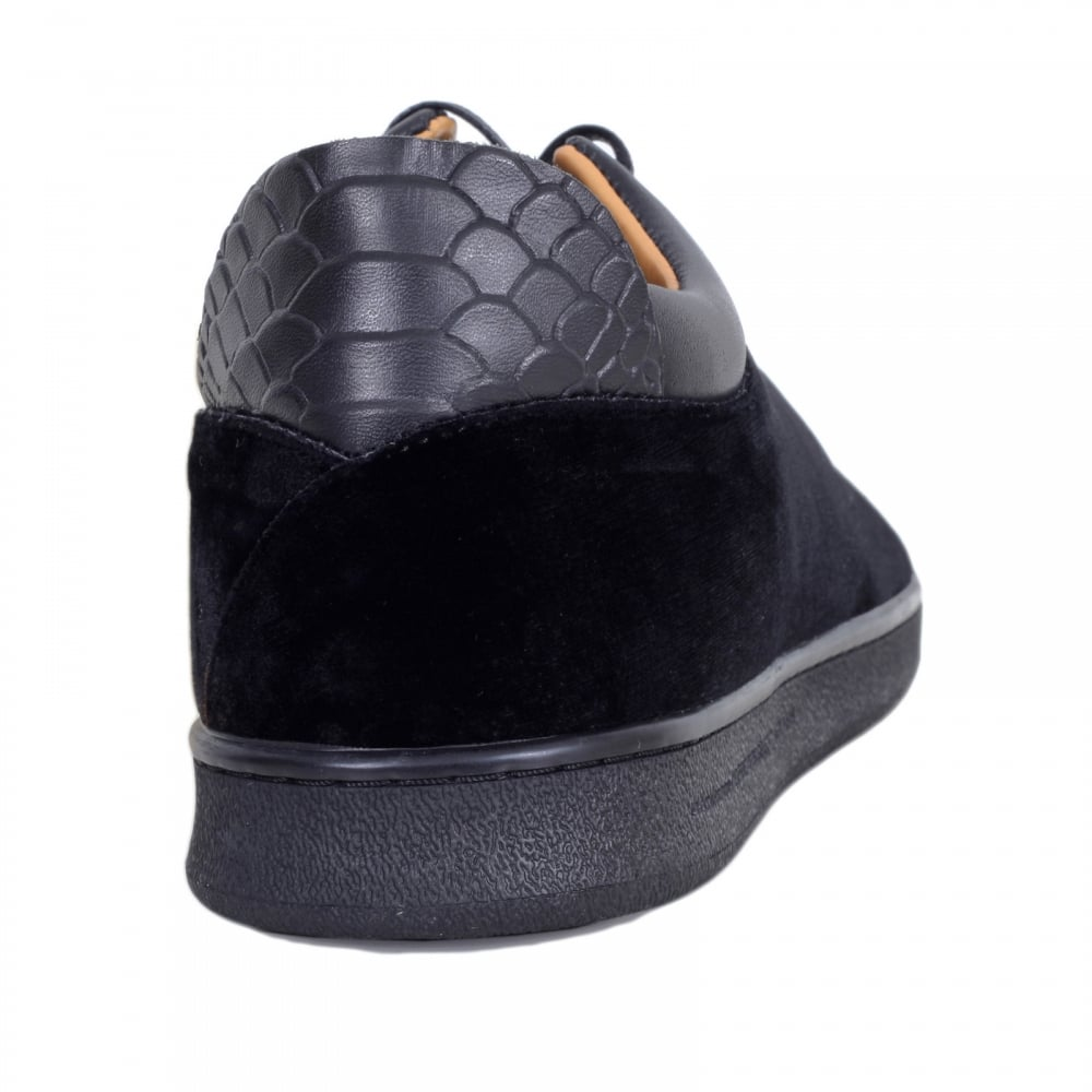 19cc9c63bc5 ... ANDROID HOMME Black Velvet Getty Low Top Trainers with Python Embossed  Back Heel Panel and Gold ...