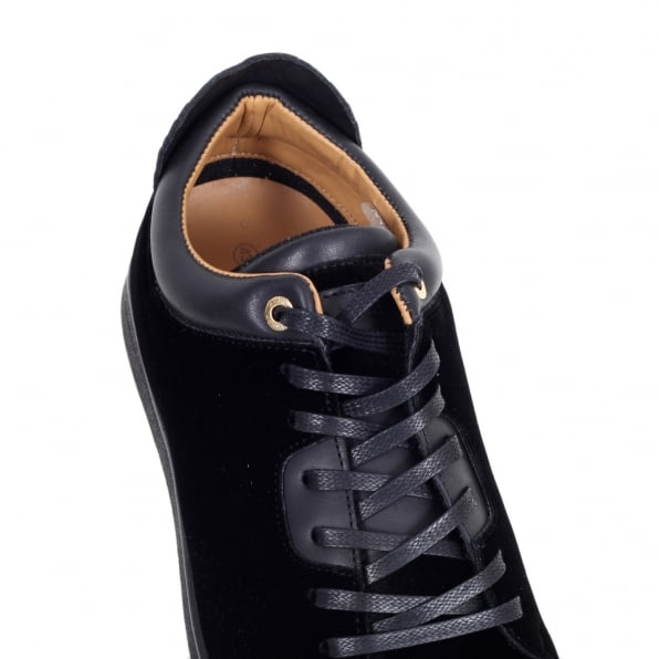 ANDROID HOMME Black Velvet Getty Low Top Trainers with Python Embossed Back Heel Panel and Gold Branded Lace Eyelets