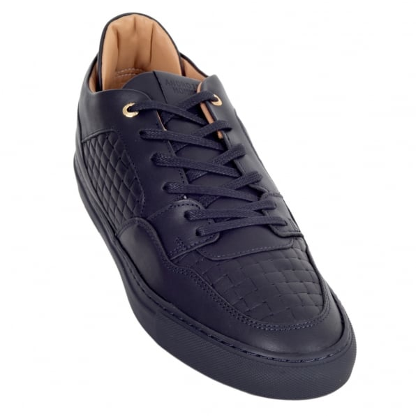 ANDROID HOMME Mens Full Grain Calf Leather Woven Sneakers in Navy with Gold Lace Eyelets