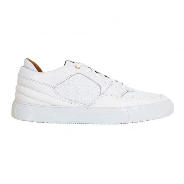 ANDROID HOMME Omega Mens White Sneakers with Crinkled Leather Toe Box, Heel and Side Panels