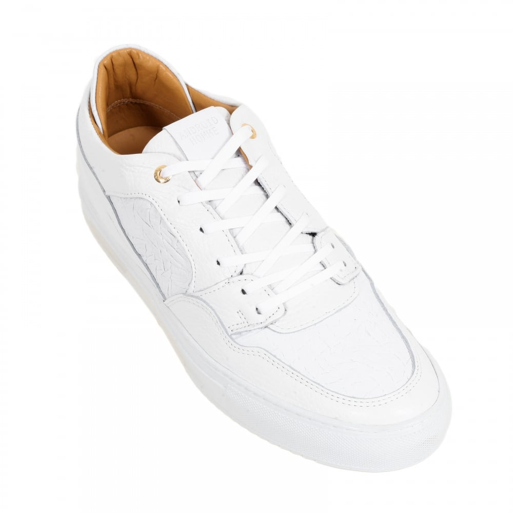 cb3beba090cb ... ANDROID HOMME Omega Mens White Sneakers with Crinkled Leather Toe Box