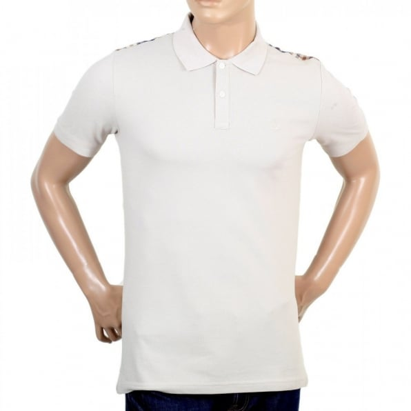 AQUASCUTUM Mens 100% Cotton Regular Fit Short Sleeve Beige Hill Polo Shirt