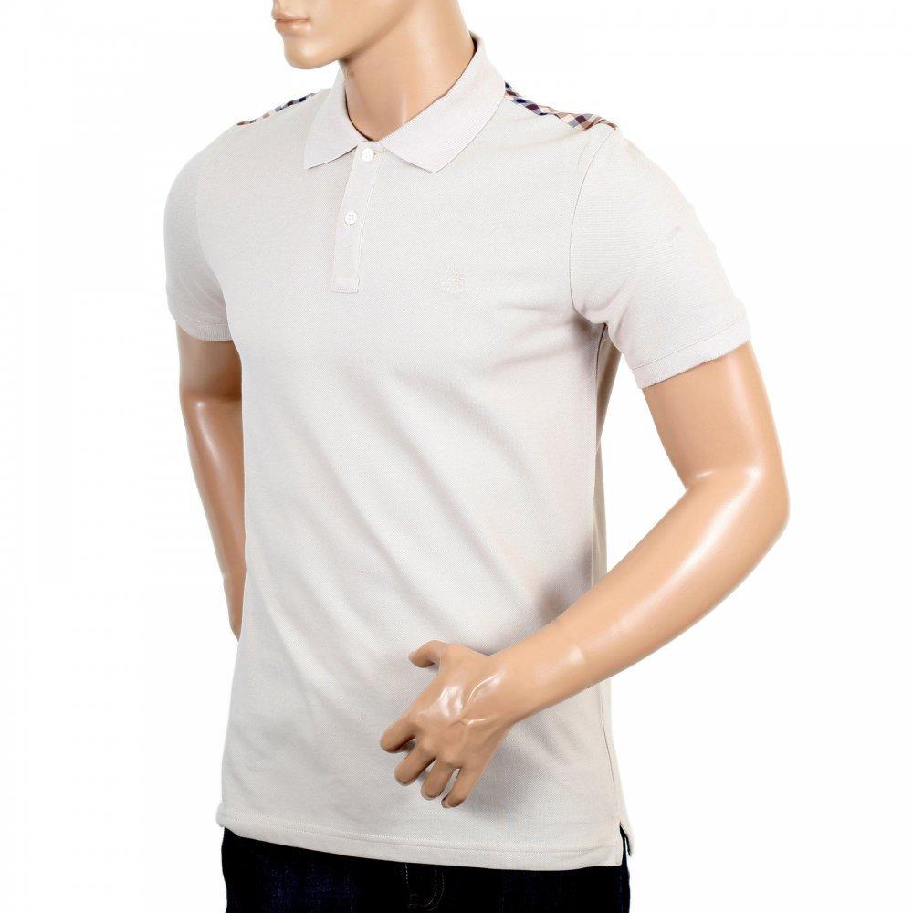 3da549450 AQUASCUTUM Mens 100% Cotton Regular Fit Short Sleeve Beige Hill Polo Shirt  ...