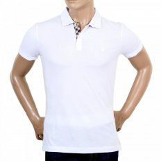 Mens 100% Cotton Regular Fit Short Sleeve Polo Shirt in White