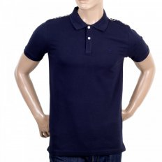 Mens Club Check Regular Fit Short Sleeve Navy Polo Shirt