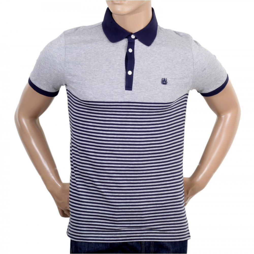 554a2e03 Shop for the Striped Polo Shirt in Navy and Grey, Now Online at Niro!