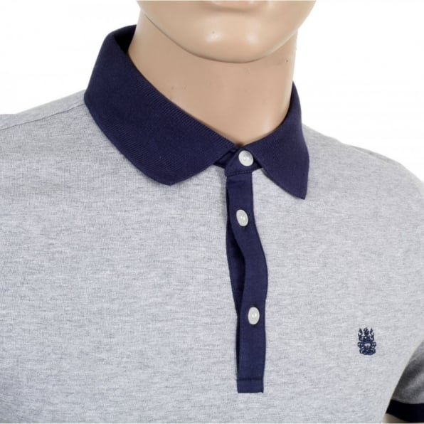 AQUASCUTUM Mens Cotton Nelson Striped Polo Shirt in Navy