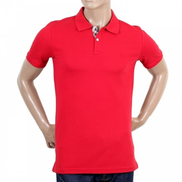 AQUASCUTUM Mens Cotton Regular Fit Short Sleeve Polo Shirt in Red