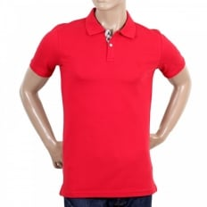 Mens Cotton Regular Fit Short Sleeve Polo Shirt in Red