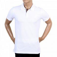 Mens Cotton Regular Fit Short Sleeve White Hilton Polo Shirt