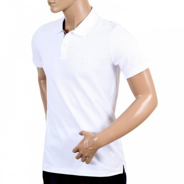 AQUASCUTUM Mens Cotton Regular Fit Short Sleeve White Hilton Polo Shirt