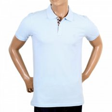Mens Light Blue Short Sleeve Regular Fit Polo Shirt