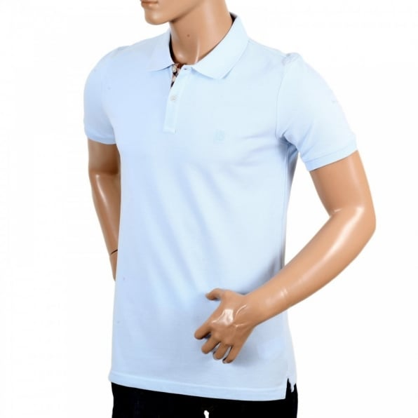 AQUASCUTUM Mens Light Blue Short Sleeve Regular Fit Polo Shirt