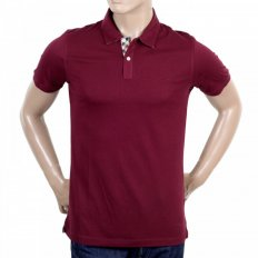 Mens Regular Fit Burgundy Cotton Short Sleeve Polo Shirt