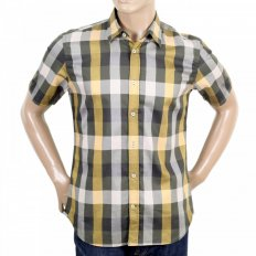 Mens Short Sleeve Green Scaled Check Shirt