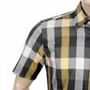 AQUASCUTUM Mens Short Sleeve Green Scaled Check Shirt