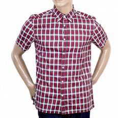Mens Stretch Cotton Red Stretch Cotton Harrowby Check Shirt with Short Sleeves