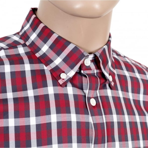 AQUASCUTUM Mens Stretch Cotton Red Stretch Cotton Harrowby Check Shirt with Short Sleeves