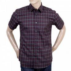 Mens Vicuna Burgundy Check Cotton Short Sleeve Shirt