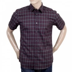 Mens Vicuna Burgundy Check Cotton Short Sleeve Shirt