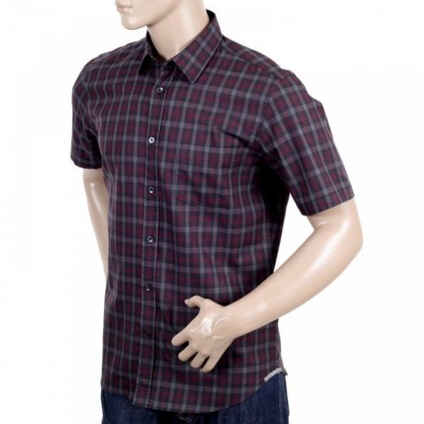 AQUASCUTUM Mens Vicuna Burgundy Check Cotton Short Sleeve Shirt