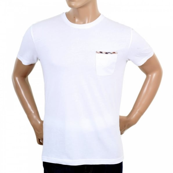AQUASCUTUM Mens White Brady Crew Neck Regular Fit Short Sleeve T-shirt