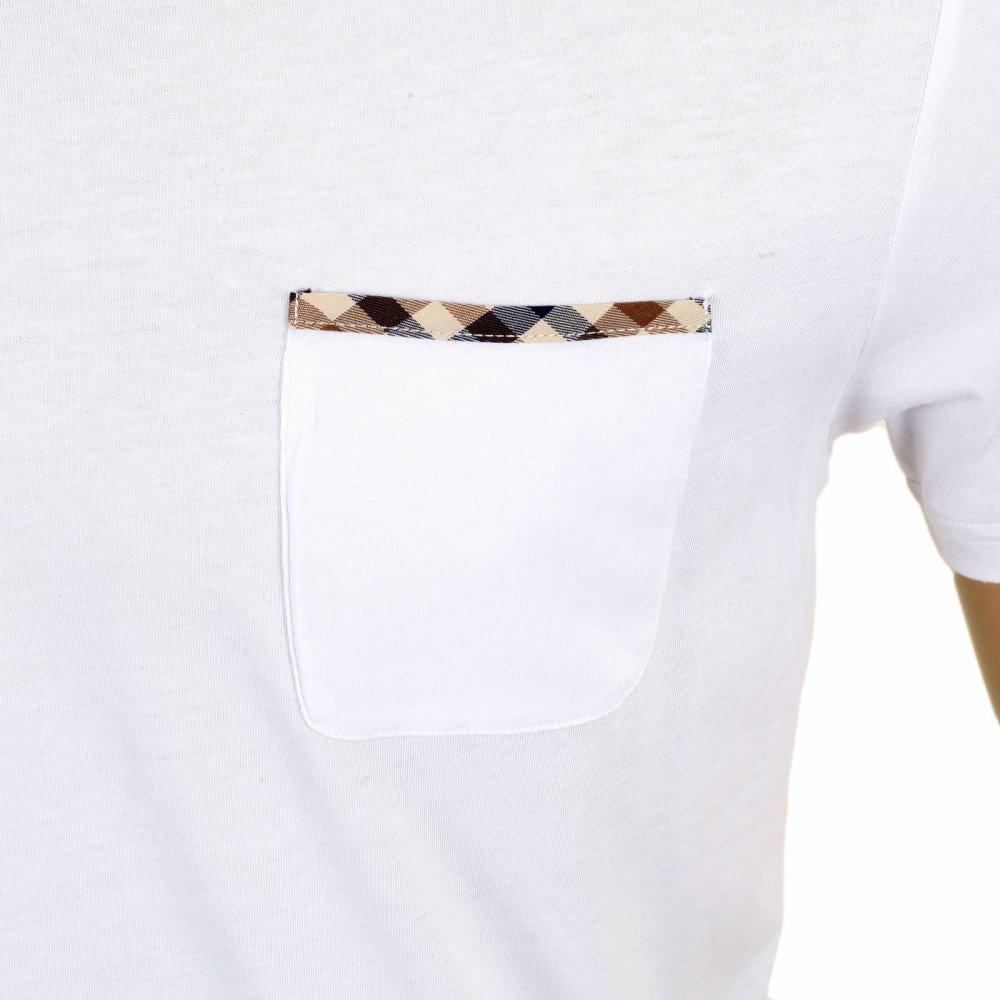 76b56414 ... AQUASCUTUM Mens White Brady Crew Neck Regular Fit Short Sleeve T-shirt  ...