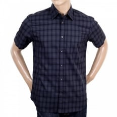Navy Check Short Sleeve Button Down Shirt for Men