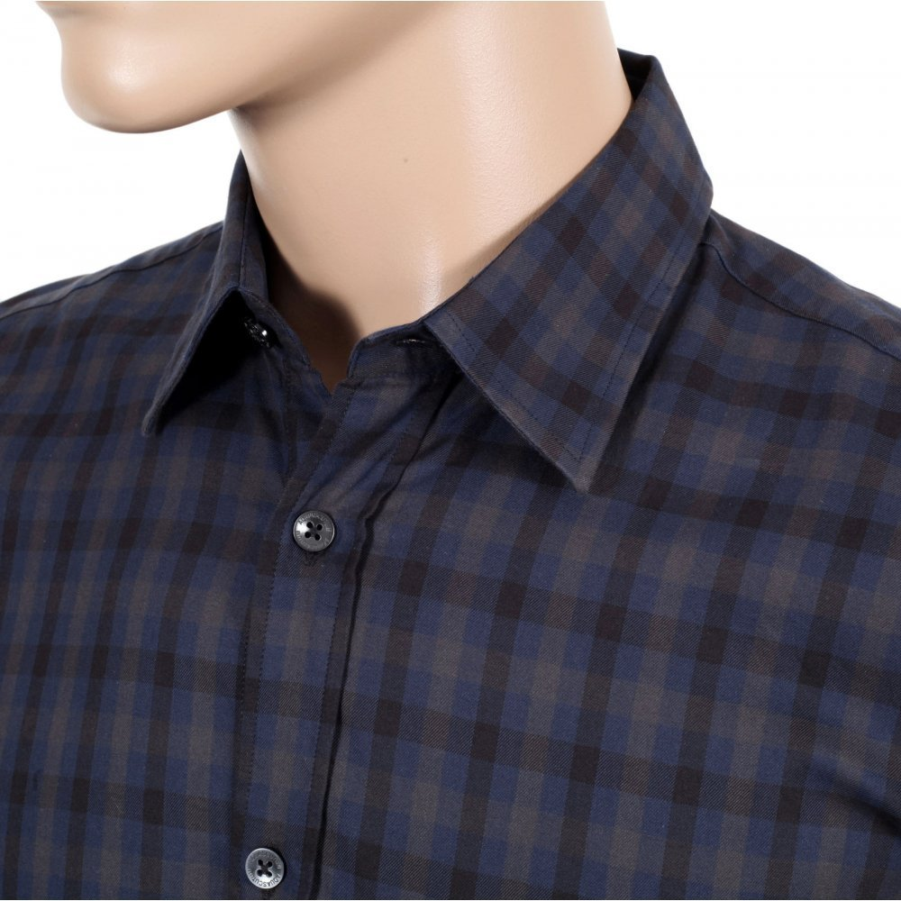 Buy the navy aquascutum check shirt today for a stylish for Navy short sleeve shirt