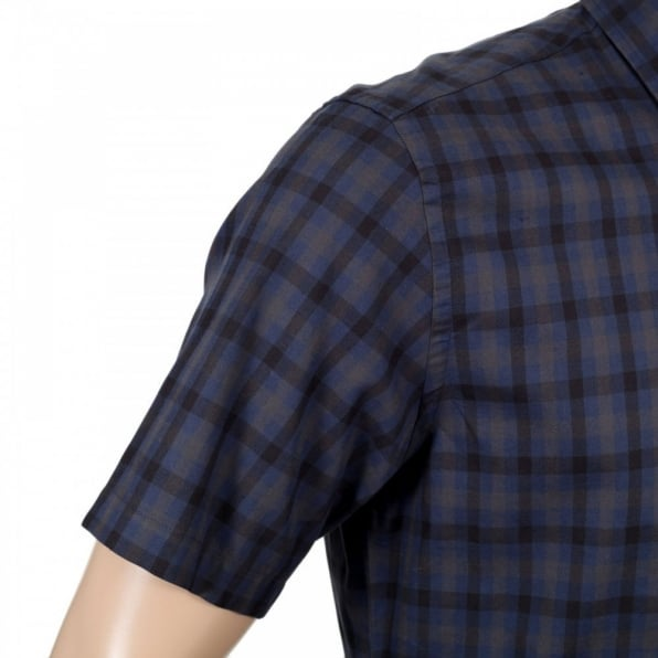 AQUASCUTUM Navy Check Short Sleeve Button Down Shirt for Men