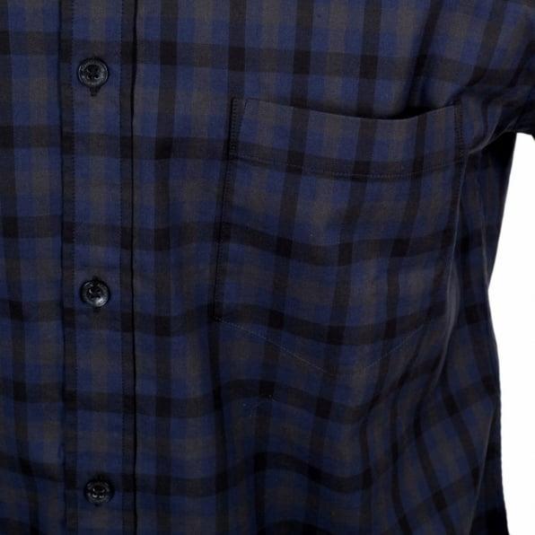 AQUASCUTUM Navy Check Short Sleeve Button Down Shirt for Men