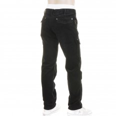 Black Fine Cord Stretch Cotton Regular Fit Low Waist Straight Leg Jeans